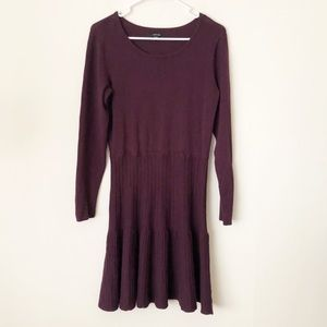 Apt. 9 Ribbed Fit & Flare Purple Sweater Dress
